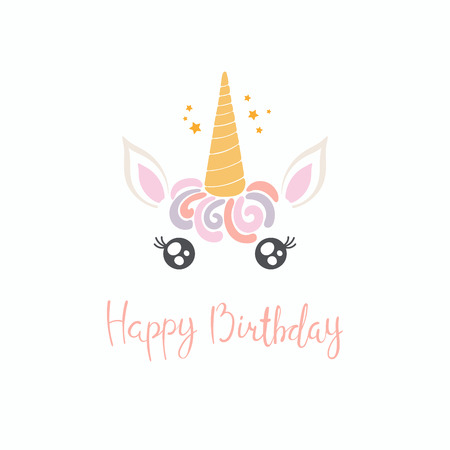 Hand drawn vector illustration of a cute funny unicorn face cake decoration with lettering quote Happy birthday. Isolated objects on white background. Flat style design. Concept for children print.