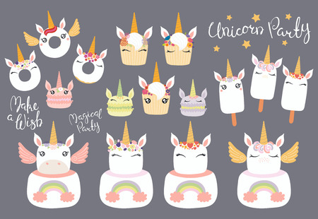 Big set of different desserts with cute funny unicorn faces, horns, ears, wings, lettering quotes. Isolated objects on gray background. Vector illustration. Flat style design. Concept children print. Illustration