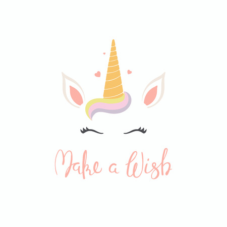 Hand drawn vector illustration of a cute funny unicorn face cake decoration with lettering quote Make a wish. Isolated objects on white background. Flat style design. Concept for children print. Ilustração