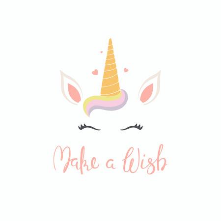 Hand getekend vectorillustratie van een leuke grappige unicorn gezicht taart decoratie met belettering offerte doen een wens. Geïsoleerde objecten op een witte achtergrond. Vlakke stijl ontwerp. Concept voor kinderen afdrukken.