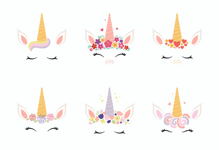 Set of different cute funny unicorn face cake decorations. Isolated objects on white background. Flat style design. Concept for children print.
