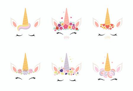 Conjunto de diferentes decoraciones de pastel de cara de unicornio divertido lindo. Objetos aislados sobre fondo blanco. Diseño de estilo plano. Concepto para niños imprimir. Ilustración de vector