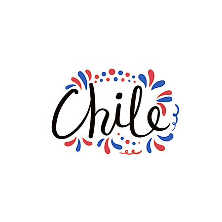 Hand written calligraphic lettering quote Chile with decorative elements in flag colors. Isolated objects on white background. Vector illustration. Design concept for independence day banner. Illustration