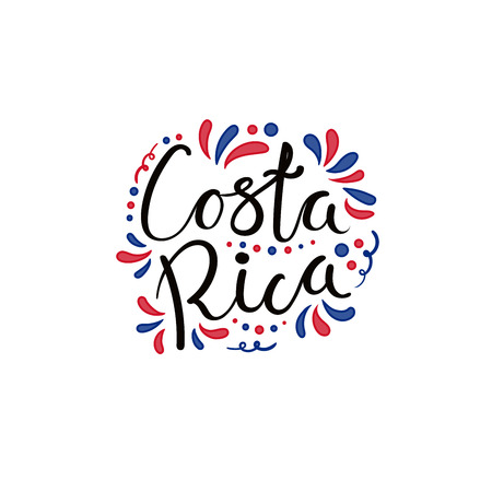 Hand written calligraphic lettering quote Costa Rica with decorative elements in flag colors. Isolated objects on white background. Vector illustration. Design concept for independence day banner. Imagens - 101730350