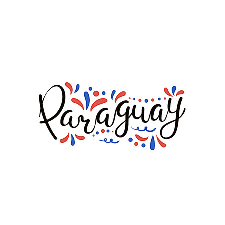 Hand written calligraphic lettering quote Paraguay with decorative elements in flag colors. Isolated objects on white background. Vector illustration. Design concept for independence day banner.