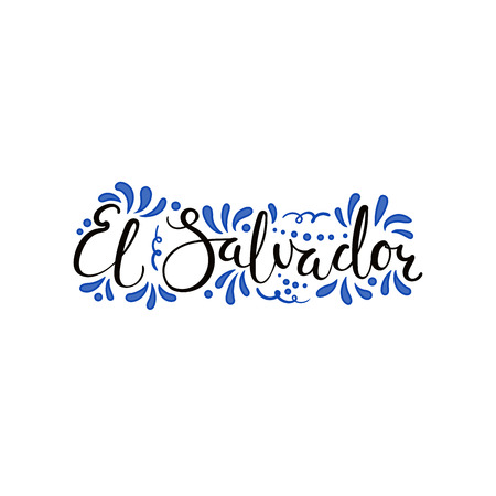 Hand written calligraphic lettering quote El Salvador with decorative elements in flag colors. Isolated objects on white background. Vector illustration. Design concept for independence day banner.