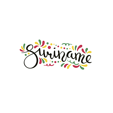 Hand written calligraphic lettering quote Suriname with decorative elements in flag colors. Isolated objects on white background. Vector illustration. Design concept for independence day banner. Banque d'images - 101767198