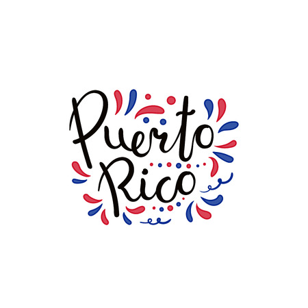 Hand written calligraphic lettering quote Puerto Rico with decorative elements in flag colors. Isolated objects on white background. Vector illustration. Design concept for independence day banner.