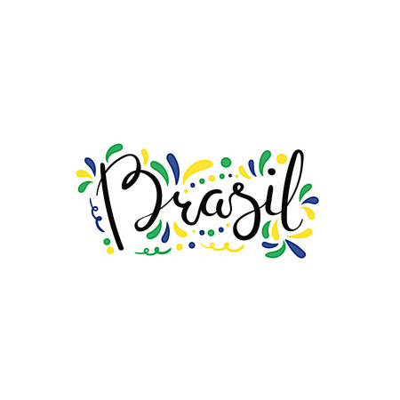 Hand written calligraphic lettering quote Brasil (Brazil) with decorative elements in flag colors. Isolated objects on white background. Vector illustration. Design concept for independence day banner