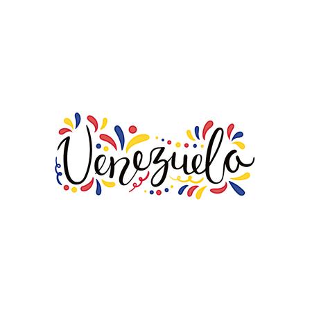 Handgeschreven kalligrafische letters citaat Venezuela met decoratieve elementen in vlagkleuren. Geïsoleerde objecten op een witte achtergrond. Vector illustratie. Ontwerpconcept voor banner van de onafhankelijkheidsdag.