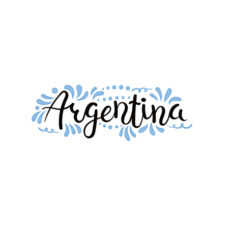 Hand written calligraphic lettering quote Argentina with decorative elements in flag colors. Isolated objects on white background. Vector illustration. Design concept for independence day banner. Vettoriali