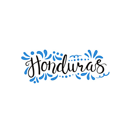 Hand written calligraphic lettering quote Honduras with decorative elements in flag colors. Isolated objects on white background. Vector illustration. Design concept for independence day banner.