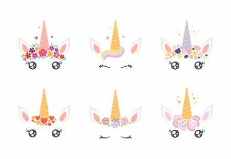 Ensemble de différentes décorations de gâteau de visage de licorne drôle mignon Objets isolés sur fond blanc. Conception de style plat. Concept pour les enfants imprimer. Vecteurs