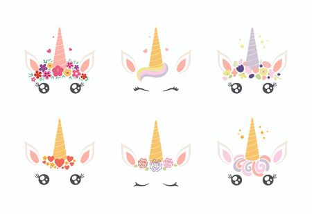 Set of different cute funny unicorn face cake decorations. Isolated objects on white background. Flat style design. Concept for children print. Archivio Fotografico - 101808492