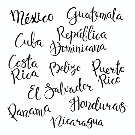 Set of hand written calligraphic lettering quotes with Central American countries names. Isolated objects on white background. Vector illustration. Design concept for banner, greeting card.