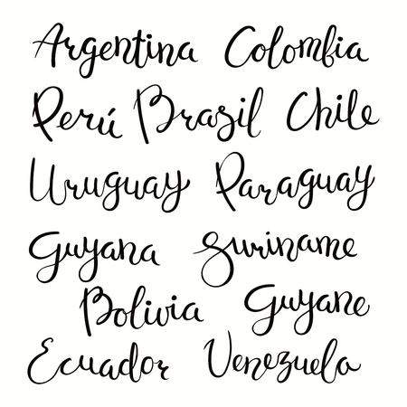 Set of hand written calligraphic lettering quotes with South American countries names. Isolated objects on white background. Vector illustration. Design concept for banner, greeting card. Ilustração