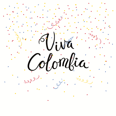 Hand written calligraphic Spanish lettering quote Viva Colombia with falling confetti in flag colors. Isolated objects. Vector illustration. Design concept independence day celebration, banner, card. Foto de archivo - 102056281
