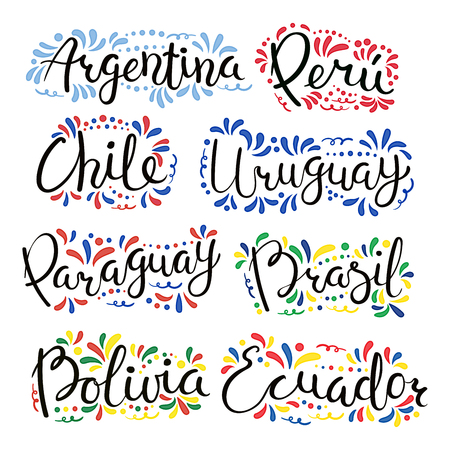 Set of hand written calligraphic lettering quotes with Latin American countries names, decorative ornament. Isolated objects on white background. Vector illustration. Design concept for banner, card.