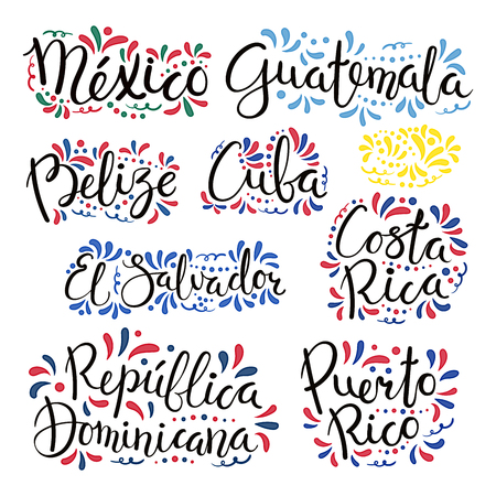 Conjunto de citas de letras caligráficas escritas a mano con nombres de países de América Latina, adornos decorativos. Objetos aislados sobre fondo blanco. Ilustración de vector. Concepto de diseño de banner, tarjeta. Ilustración de vector