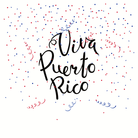 Hand written calligraphic Spanish lettering quote Viva Puerto Rico with confetti in flag colors. Isolated objects. Vector illustration. Design concept independence day celebration, banner, card. Illustration