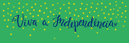 Banner template with calligraphic Portuguese lettering quote Long Live Independence with stars. Isolated objects. Vector illustration. Design concept independence day celebration, greeting card.