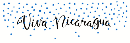 Banner template with calligraphic Spanish lettering quote Viva Nicaragua with falling stars, in flag colors. Isolated objects. Vector illustration. Design concept independence day celebration, card. Çizim