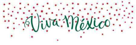 Banner template with calligraphic Spanish lettering quote Viva Mexico with falling stars, in flag colors. Isolated objects. Vector illustration. Design concept independence day celebration, card. Ilustração