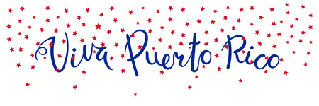 Banner template with calligraphic Spanish lettering quote Viva Puerto Rico with falling stars, in flag colors. Isolated objects. Vector illustration. Design concept independence day celebration, card.