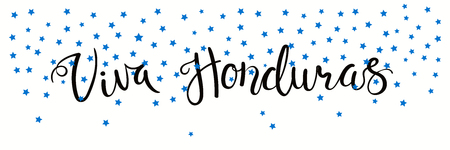 Banner template with calligraphic Spanish lettering quote Viva Honduras with falling stars, in flag colors. Isolated objects. Vector illustration. Design concept independence day celebration, card.