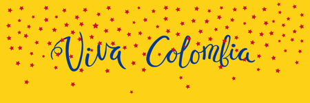 Banner template with calligraphic Spanish lettering quote Viva Colombia with falling stars, in flag colors. Isolated objects. Vector illustration. Design concept independence day celebration, card.