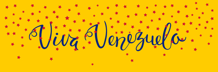 Banner template with calligraphic Spanish lettering quote Viva Venezuela with falling stars, in flag colors. Isolated objects. Vector illustration. Design concept independence day celebration, card. Foto de archivo - 102019628