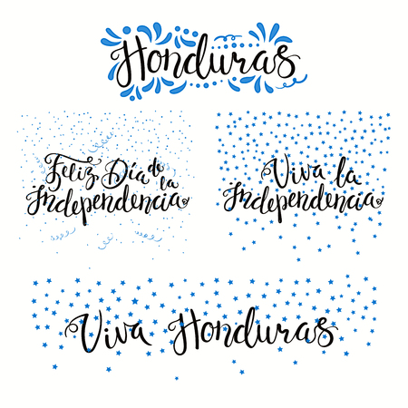 Set of hand written calligraphic Spanish lettering quotes for Honduras Independence Day with stars, confetti, in flag colors. Isolated objects. Vector illustration. Design concept banner, card.