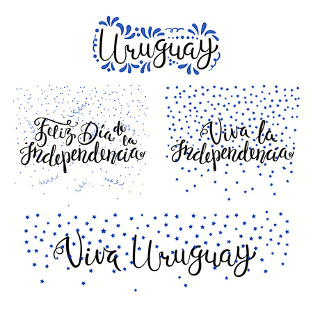 Set of hand written calligraphic Spanish lettering quotes for Uruguay Independence Day with stars, confetti, in flag colors. Isolated objects. Vector illustration. Design concept banner, card. Illustration