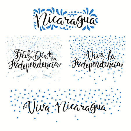 Set of hand written calligraphic Spanish lettering quotes for Nicaragua Independence Day with stars, confetti, in flag colors. Isolated objects. Vector illustration. Design concept banner, card.