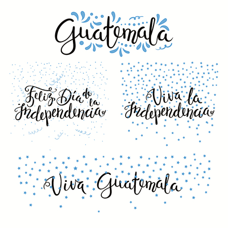 Set of hand written calligraphic Spanish lettering quotes for Guatemala Independence Day with stars, confetti, in flag colors. Isolated objects. Vector illustration. Design concept banner, card.