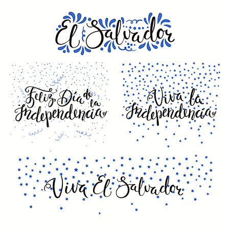 Set of hand written calligraphic Spanish lettering quotes for El Salvador Independence Day with stars, confetti, in flag colors. Isolated objects. Vector illustration. Design concept banner, card. Ilustração