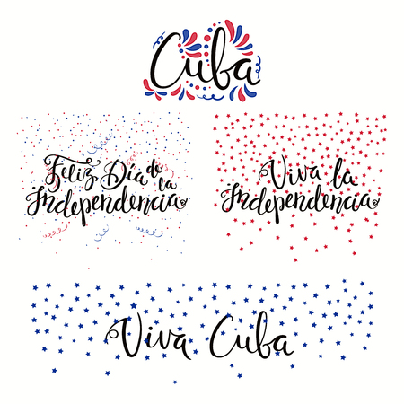 Set of hand written calligraphic Spanish lettering quotes for Cuba Independence Day with stars, confetti, in flag colors. Isolated objects. Vector illustration. Design concept banner, card. Stock Illustratie