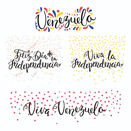 Set of hand written calligraphic Spanish lettering quotes for Venezuela Independence Day with stars, confetti, in flag colors. Isolated objects. Vector illustration. Design concept banner, card.