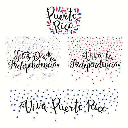 Set of hand written calligraphic Spanish lettering quotes for Puerto Rico Independence Day with stars, confetti, in flag colors. Isolated objects. Vector illustration. Design concept banner, card.