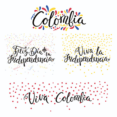 Set of hand written calligraphic Spanish lettering quotes for Colombia Independence Day with stars, confetti, in flag colors. Isolated objects. Vector illustration. Design concept banner, card.