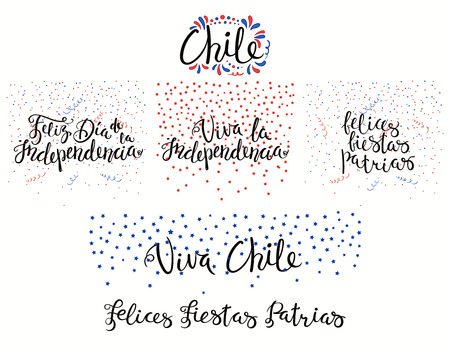 Set of hand written calligraphic Spanish lettering quotes for Chile patriotic holidays with stars, confetti, in flag colors. Isolated objects. Vector illustration. Design concept banner, card.