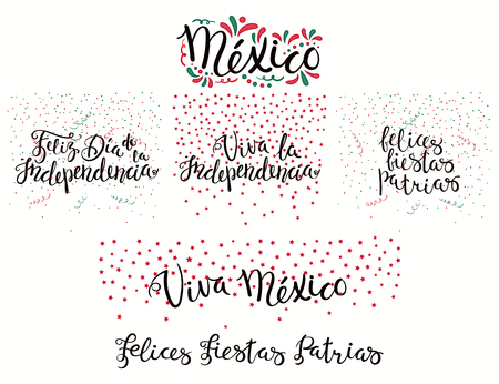 Set of hand written calligraphic Spanish lettering quotes for Mexico patriotic holidays with stars, confetti, in flag colors. Isolated objects. Vector illustration. Design concept banner, card.