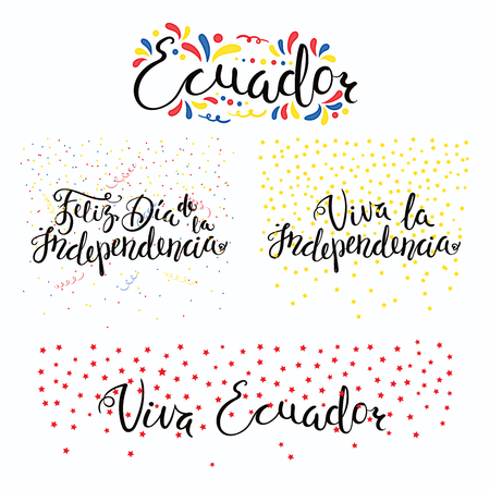 Set of hand written calligraphic Spanish lettering quotes for Ecuador Independence Day with stars, confetti, in flag colors. Isolated objects. Vector illustration. Design concept banner, card. Ilustração