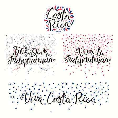 Set of hand written calligraphic Spanish lettering quotes for Costa Rica Independence Day with stars, confetti, in flag colors. Isolated objects. Vector illustration. Design concept banner, card.