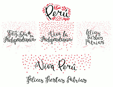 Set of hand written calligraphic Spanish lettering quotes for Peru patriotic holidays with stars, confetti, in flag colors. Isolated objects. Vector illustration. Design concept banner, card.