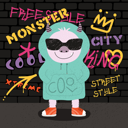 Hand drawn vector illustration of a cute funny monster in sunglasses and hoodie with a wall with graffiti in the background. Isolated objects. Concept for children print.