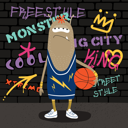 Hand drawn vector illustration of a cute funny monster in a tank top, holding a basketball ball, with a wall with graffiti in the background. Isolated objects. Concept for children print.