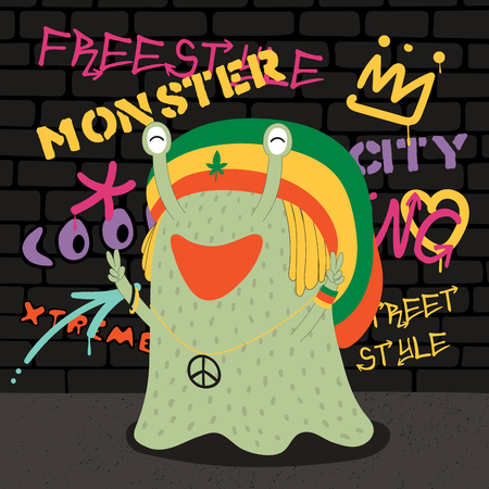 Hand drawn vector illustration of a cute funny monster in a rasta hat, making peace signs, with a wall with graffiti in the background. Isolated objects. Concept for children print.