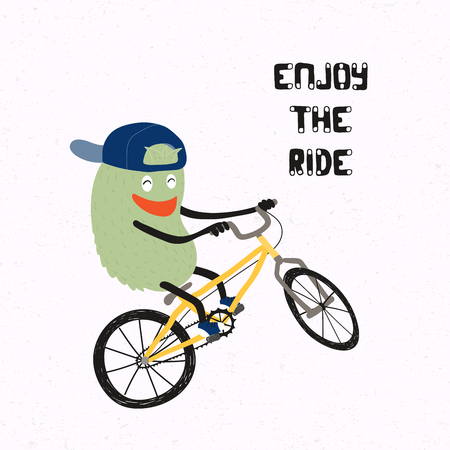 Hand drawn vector illustration of a cute funny monster in a snapback cap doing a stunt on a BMX bicycle, with quote Enjoy the ride. Isolated objects on white background. Concept for children print. Illustration