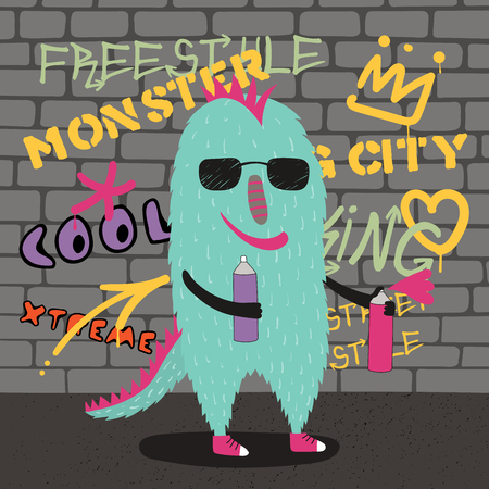 Hand drawn vector illustration of a cute funny monster in sunglasses, holding spray cans, with a wall with graffiti in the background. Isolated objects. Concept for children print.